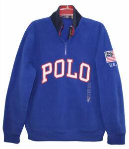 Polo Ralph Lauren Mens Royal Blue 1/2 Zip POLO Fleece Jacket NWT $148 Size M