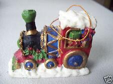 "Vintage Giftco Polystone Train Ornament Christmas Tree Deco 2"" X 3"" New"