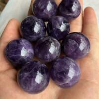 Natural Amethyst Quartz Stone Sphere Crystal Fluorite Art Gemstone Ball Hea C1I6