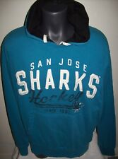 SAN JOSE SHARKS Pull Over Hoody with Sewn and Faded Screened Logos LG   Blue  h1