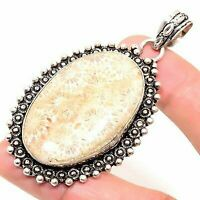 "Fossil""Coral Handmade Ethnic Style Jewelry Pendant 2.17"" VED4493"