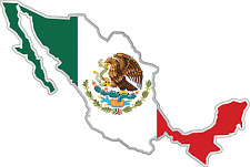 "Mexico Country Flag Map Car Bumper Window Mirror Sticker Decal 5""X4"""