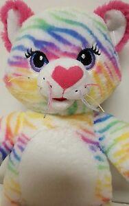 """Build a Bear Rainbow Stripes Tiger Kitty Cat 17"""" Stuffed Plush"""