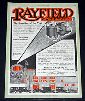 1913 OLD MAGAZINE PRINT AD, RAYFIELD CAR CARBURETORS, HOLD MORE WORLD RECORDS!