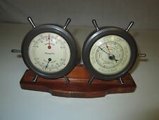 Airguide VINTAGE Nautical THERMOMETER and BAROMETER Sailing SHIP WHEELS