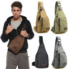 Canvas Backpack Men Shoulder Sling Chest Hiking Bicycle Messenger Cross Body Bag