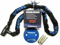 OXFORD GP 1.5M CHAIN MOTORCYCLE MOTORBIKE GRID  SECURITY GROUND ANCHOR