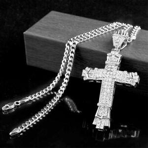 Crystal Cross Necklace Crucifix Rhinestone Big Pendant Chain Men's Jewellery