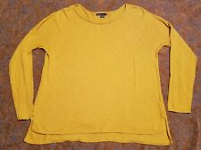 $135 VINCE cotton slub sweater M mustard yellow roll hem boatneck knit pullover
