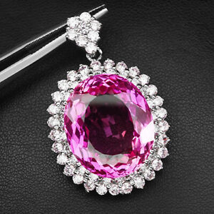 TOPAZ PLATINUM PINK OVAL 40.20 CT. SAPPHIRE 925 STERLING SILVER PENDANT JEWELRY