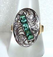 Gala-Ring in 585 Gold/Weißgold 1 ct. Turmaline + 0,40 ct. Diamanten 7,1 g RG 59