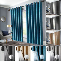Grey Thermal Blackout Curtains Insulated Pair of Ring Top Bedroom Window Curtain