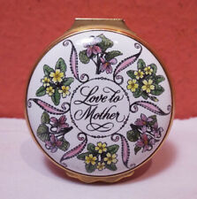 Halcyon Days Enamels Round Box Mother's Day 1984 Excellent Love Floral England