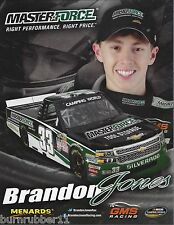 "2015 BRANDON JONES ""MASTERFORCE TOOL STORAGE"" #33 NASCAR TRUCK SERIES POSTCARD"