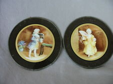 ANTIQUE/VINTAGE FLUE COVERS YOUNG FRENCH BOY AND GIRL-PAIR