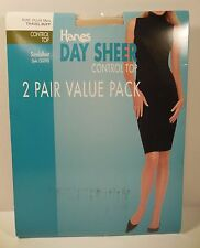 HANES Pantyhose Day Sheer Control Top 2 Pair PLUS TALL Travel Buff Sandalfoot