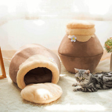 Winter Warm Cute Cat House Plush Soft Portable Cave Sleeping Cushion Pet Bed Toy