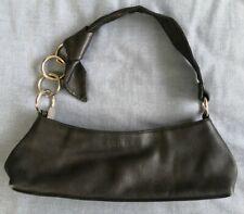 Furla Women's Black Leather Knot Detail Strap Handbag Bag Used Condition