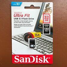 NEW SanDisk 32GB Ultra Fit High Speed USB 3.1 Memory Stick Flash Drive 130MBs