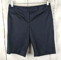 Ann Taylor LOFT Bermuda Chino Shorts 4 Navy Blue Flat Front Khaki Shorts