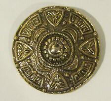 """Vintage 3"""" Diameter Metal Pearl Zodiac Belt Buckle"""