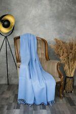 Blanket Throw Bed Sofa Fleece Cozy Solid Soft Warm 100% Wool 130x200cm Blue Best