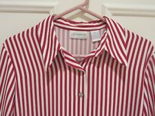Liz Claiborne LS Red and White Striped Blouse Size 8