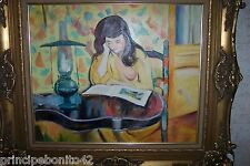 """READING LADY BY THE LIGHT OF A """"STUDENT LIGHT"""". OIL, SIGNED, GREAT FRAME."""
