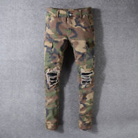 Men's Skinny Camouflage Ripped Jeans Biker Army Brown Stretch Frayed Slim Pants