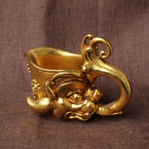 Collect chinese Solid Copper Gilding dragon loong head statue glass cup
