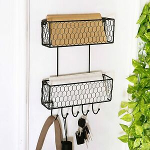 2 Tier Wall Hanging Metal Chicken Wire Organizer Baskets Mail Sorter w/ Key Hook