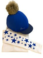 LeMieux Benneton Blue Hat Silk and matching GGGear Cross Country Base layer,
