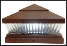 6-PACK 5x5 or 6x6 SOLAR COPPER POST CAPS FOR PVC VINYL FENCE LIGHTS WITH 5 LEDS