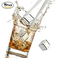 8pcs Stainless Steel Reusable Ice Cubes Chilling Stones with Tongs for Whiskey