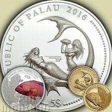 SILVER & GOLD 2 Coin Set - CORAL HIND FISH - Marine Life Protection 2016 PALAU