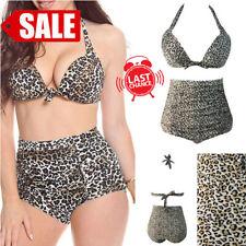 SALE 2PC Sexy Animal Print Spots Swimsuit Bikini Halter Bra Top Swimwear M-3XL