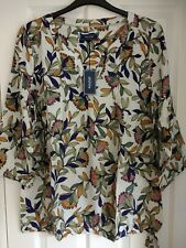 Maine New England Elfenbein Multi Floral Krawatte Hem Bluse Top. UK 18, EUR 44-46. OVP