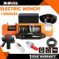 X-BULL 13000lbs Electric Winch 12V Synthetic Rope 4WD Waterproof Truck Trailer