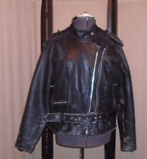 Vintage Protech Leather Apparel Black Moto Jacket Women's Size L/XL Thinsulate