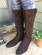 MINT! FRYE Size 9 10 Chocolate Brown Suede Tall Slouch Boots Pull On Round Toe