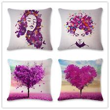 18''Purple Leaves Cotton Linen Pillow Case Sofa Cushion Cover Fashion Home Decor