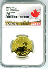 2020 CANADA $1 NGC SP68 FIRST RELEASES BLACK-FOOTED FERRET LOONIE RARE LOON 001