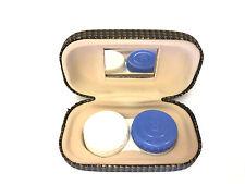 """Contact Lens Contact Lenses Case Mirror Hard Shell Mirror 3 1/2"""" 2"""" 1"""" Brown"""