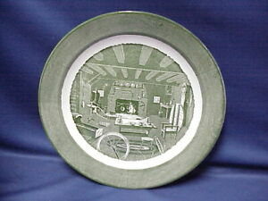 "Colonial Homestead Platter Plate 12"" F52 Green Royal China Circa 1750"