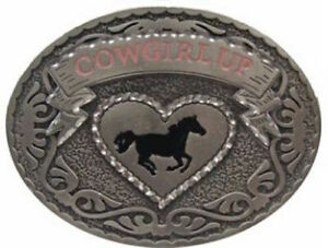 Western COWGIRL UP BELT BUCKLE Texas Cowboy Gift Horse Rodeo 050