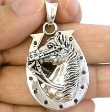 HORSE ON HORSESHOE SOLID STERLING 925 SILVER PENDANT
