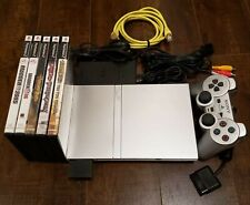 Sony PlayStation 2 PS2 Slim SCPH79001 W/ Controller, 5 Games & Memory Card-Good