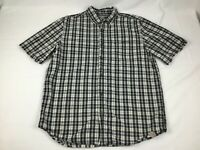 Carhartt Men's Large Relaxed Fit Short Sleeve Button Shirt Navy Blue Plaid