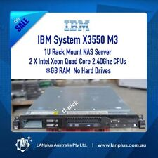 IBM System x3550 M3 2x Quad Core Xeon 2.4Ghz 8GB RAM 1U Rack Mount NAS Server