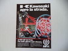 advertising Pubblicità 1983 MOTO KAWASAKI GPZ 550 UNI-TRAK